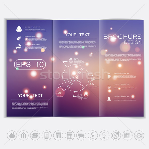 Tri-Fold Brochure mock up vector design. Smooth unfocused bokeh background with shiny elements. Corp Stock photo © LittleCuckoo