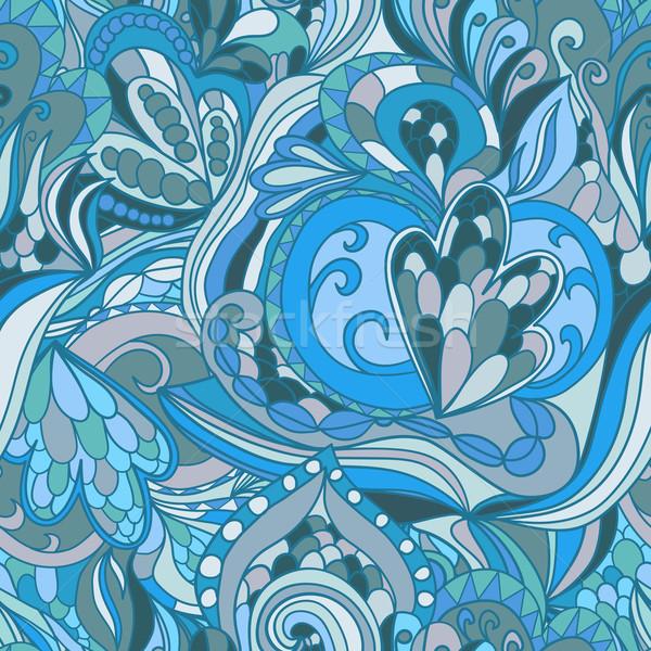 Sem costura azul abstrato ondas padrão ondulado Foto stock © LittleCuckoo