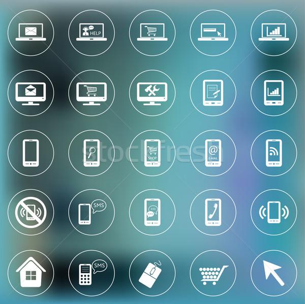ストックフォト: セット · アイコン · ウェブ · 携帯 · スマートフォン · ノートパソコン