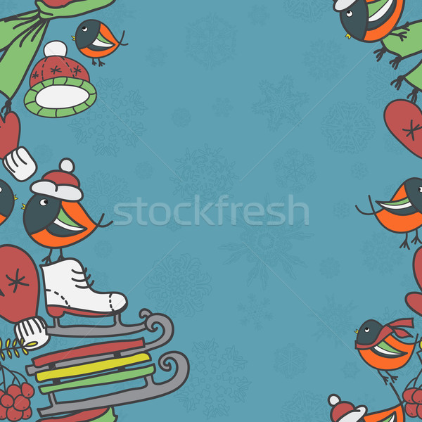 Winter seamless border with bullfinches and sleds mittens cap skates Stock photo © LittleCuckoo