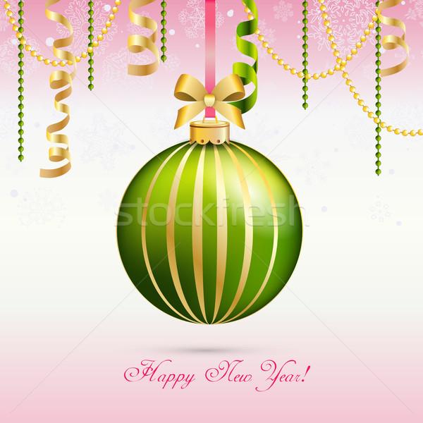 Capodanno biglietto d'auguri Natale palla arco nastro Foto d'archivio © LittleCuckoo