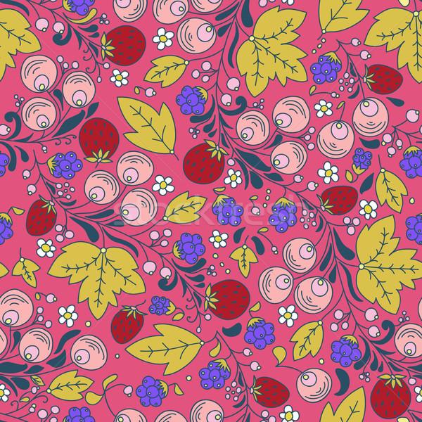 Végtelenített vektor minta eper bogyó végtelen minta Stock fotó © LittleCuckoo