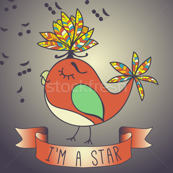 Illustratie zingen vogel lint leuze star Stockfoto © LittleCuckoo