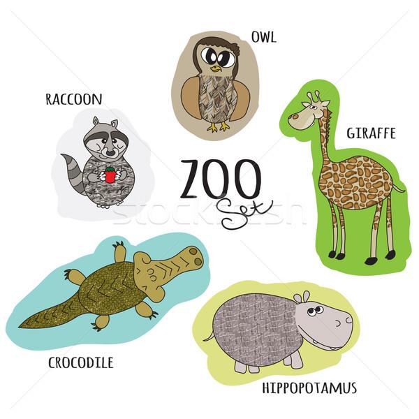 Karikatür hayvanat bahçesi ayarlamak baykuş rakun krokodil Stok fotoğraf © LittleCuckoo