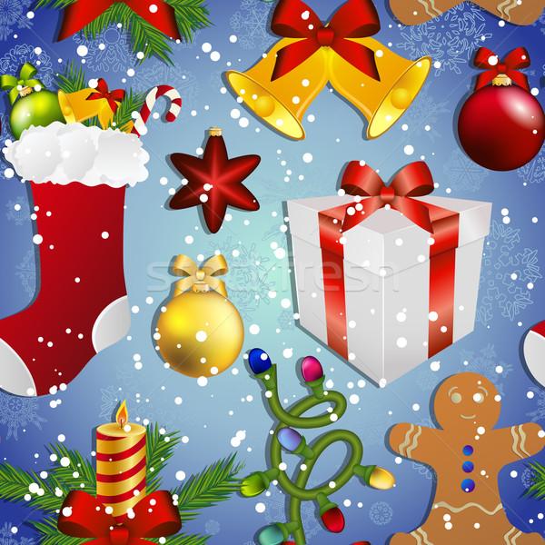 Новый год шаблон Рождества игрушками носки подарок Сток-фото © LittleCuckoo