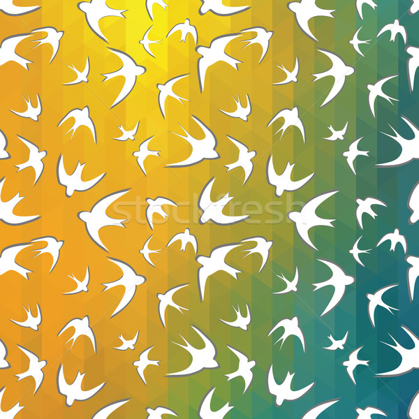 mosaic triangle, silhouette of the swallow Stock photo © LittleCuckoo