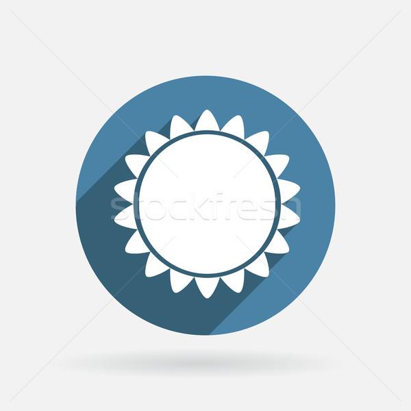 Güneş daire mavi ikon gölge imzalamak Stok fotoğraf © LittleCuckoo
