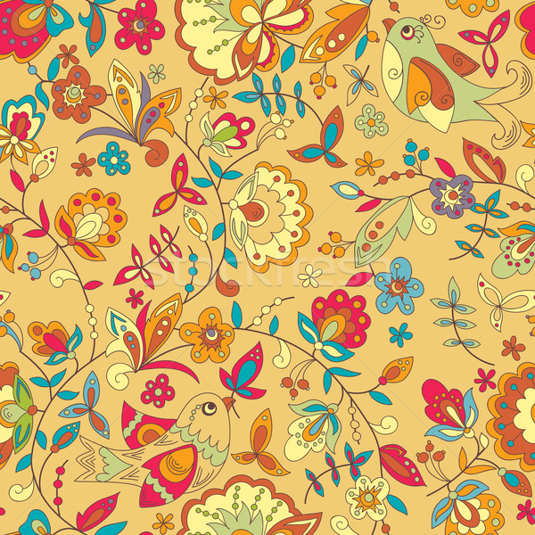 Vogel bloem ornament patroon naadloos vector Stockfoto © LittleCuckoo