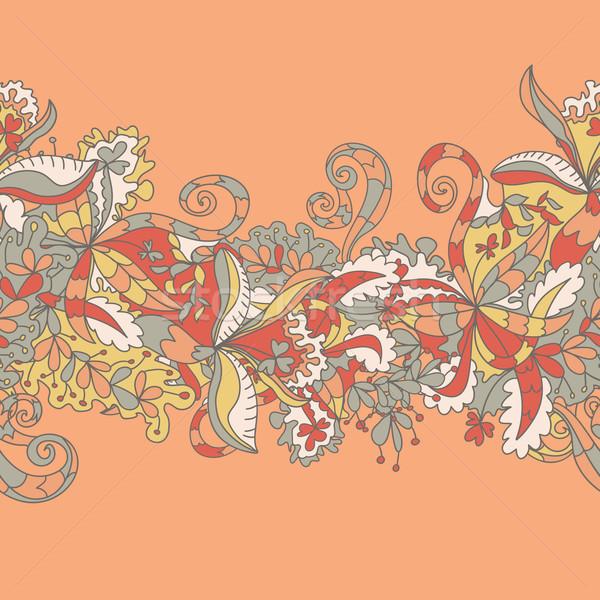 抽象的な 波 フローラル パターン いたずら書き 水 ストックフォト © LittleCuckoo