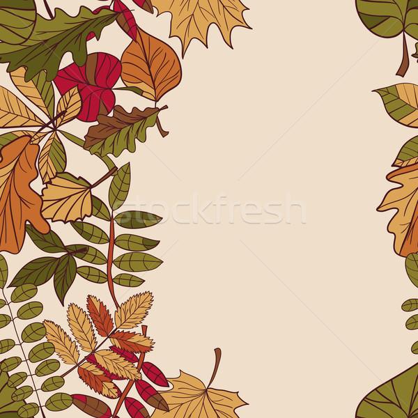 Najaar patroon Rood Geel groene bladeren Stockfoto © LittleCuckoo