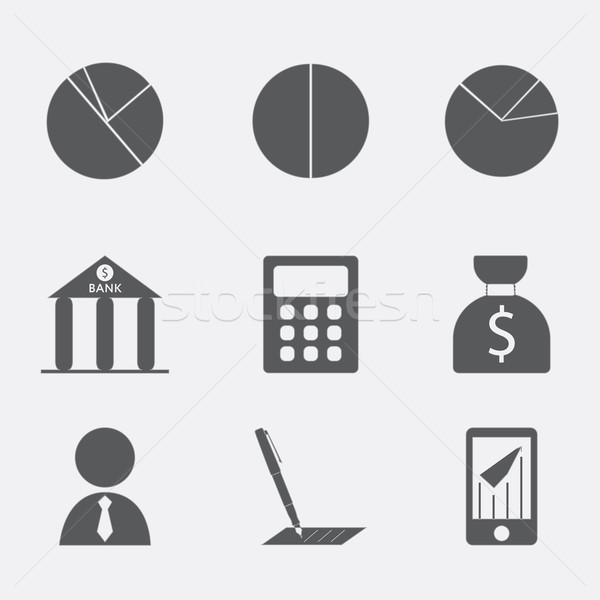 Financial analytical icons with graphs Stock photo © LittleCuckoo
