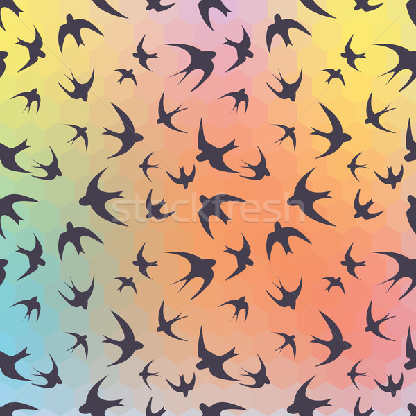 Swallow and rainbow hexagons Stock photo © LittleCuckoo