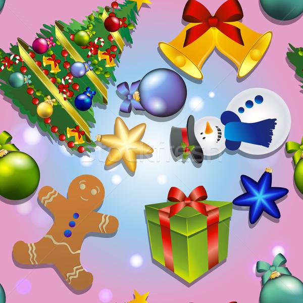 új év minta hóember karácsonyfa mézeskalács ember ajándék Stock fotó © LittleCuckoo