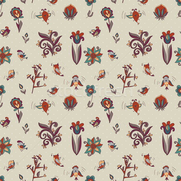 Stock photo: flowers and birds seamless texture pattern