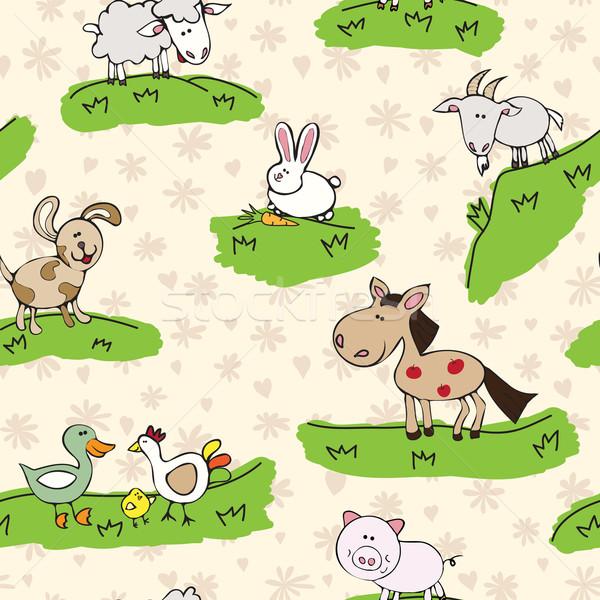 Animali della fattoria erba pattern sfondo senza soluzione di continuità texture Foto d'archivio © LittleCuckoo