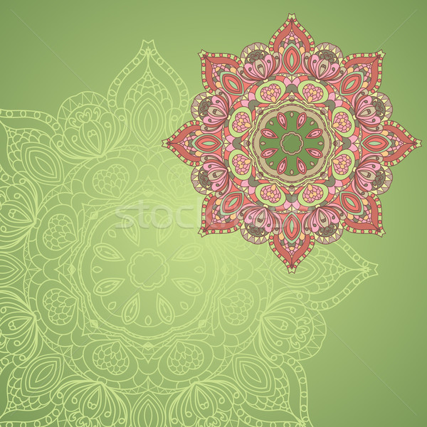 background with lace circle hand drawn ornament Stock photo © LittleCuckoo