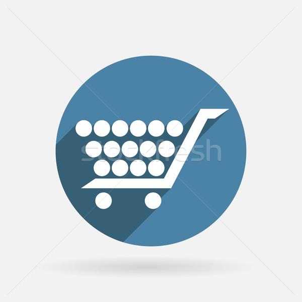 Círculo azul ícone sombra carrinho loja on-line Foto stock © LittleCuckoo