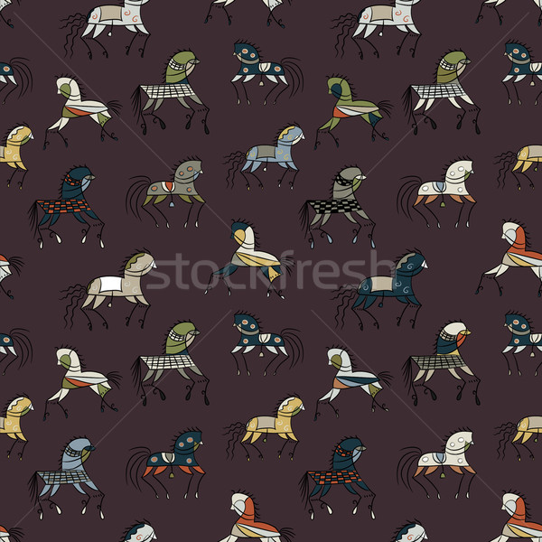 Stock photo: seamless background with ethnic horses