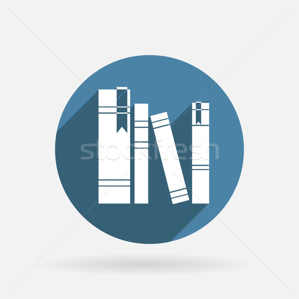 the spines of books. Circle blue icon with shadow. Stock photo © LittleCuckoo