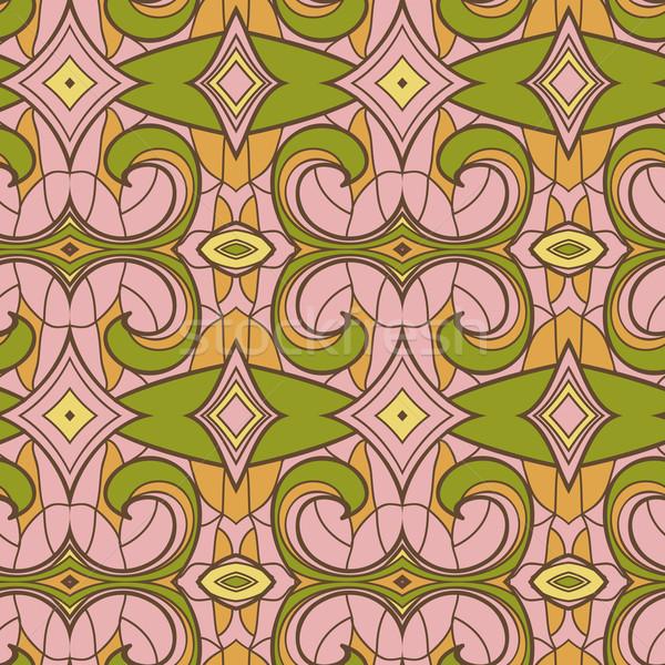 Foto stock: Abstrato · sem · costura · ornamento · padrão · caleidoscópio · efeito