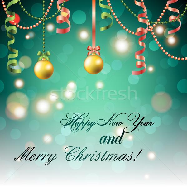 Yılbaşı tebrik kartı Noel top yay şerit Stok fotoğraf © LittleCuckoo