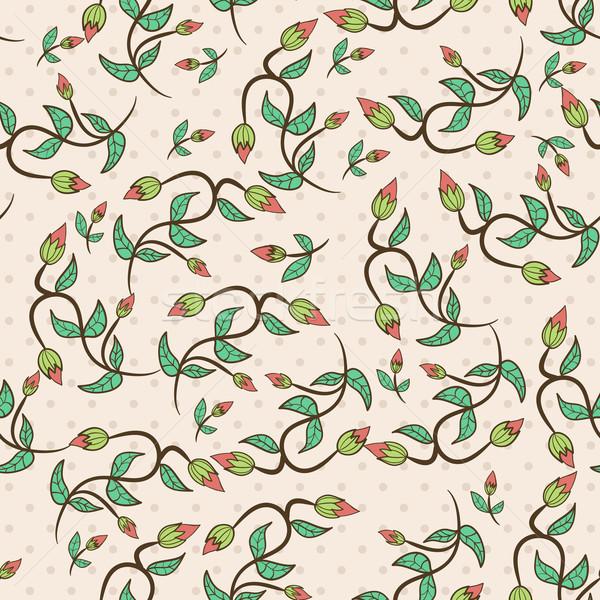 花 つぼみ 葉 シームレス フローラル パターン ストックフォト © LittleCuckoo