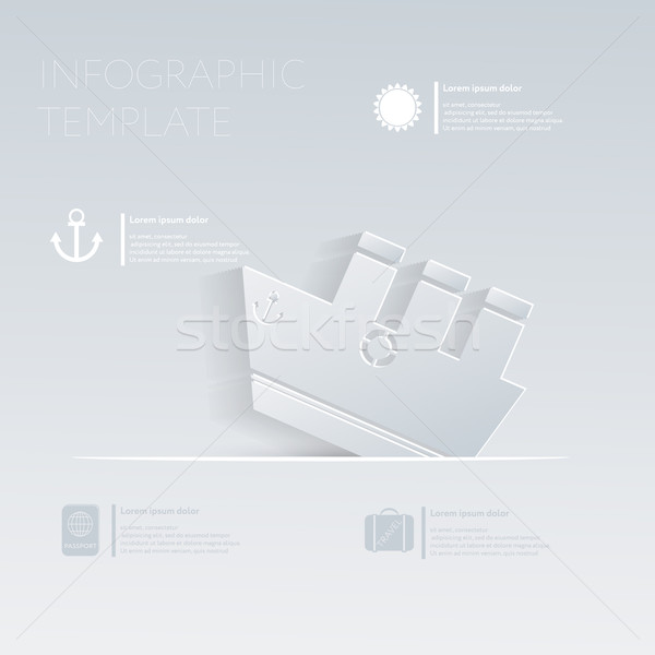 Ferry steamer. Theme holidays. Template infographic or website layout. Stock photo © LittleCuckoo