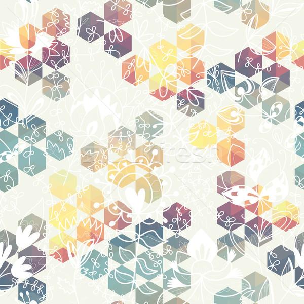 六角形 三角形 花 幾何学模様 フル 色 ストックフォト © LittleCuckoo