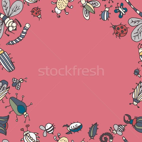 Foto stock: Bonitinho · desenho · animado · inseto · fronteira · padrão · verão