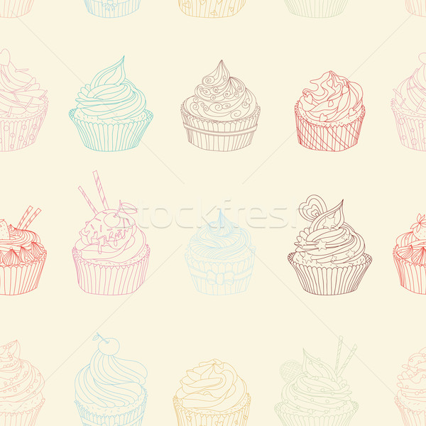 шаблон бесшовный сладкие блюда текстуры продовольствие Сток-фото © LittleCuckoo