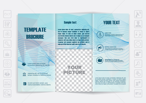 Tri-Fold Brochure mock up vector design. Polygonal background background.  Stock photo © LittleCuckoo