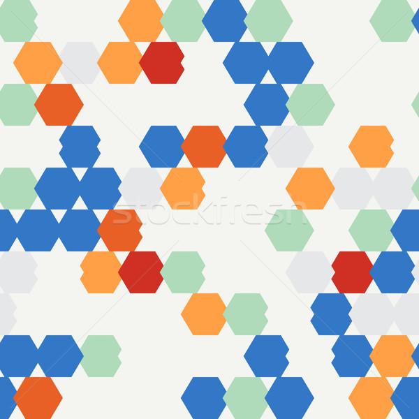 Végtelenített textúra színes hatszög használt háttér Stock fotó © LittleCuckoo