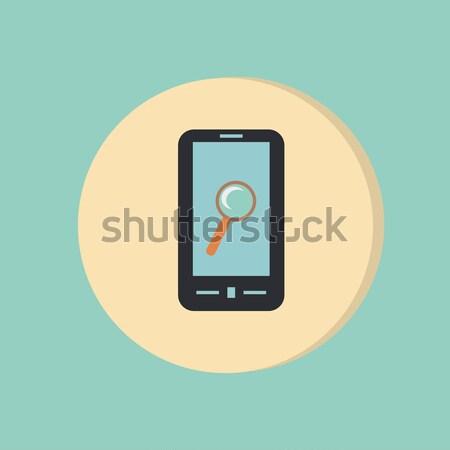 Carta icona smartphone simbolo lente di ingrandimento ombra Foto d'archivio © LittleCuckoo