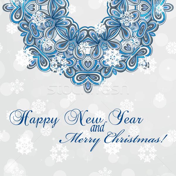 Nowy rok kartkę z życzeniami gratulacje christmas kółko koronki Zdjęcia stock © LittleCuckoo