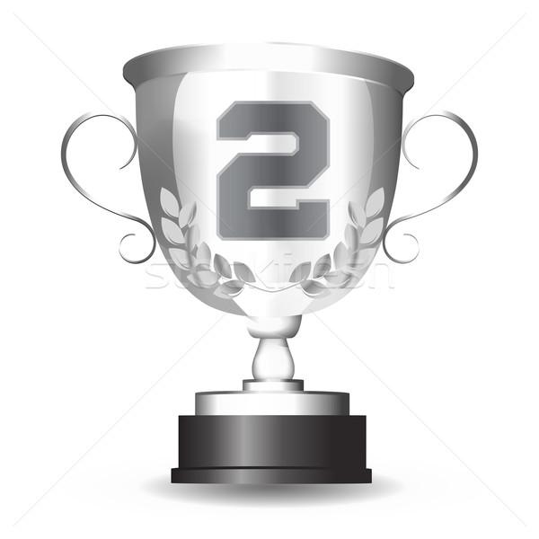 серебро Кубок второй место награда изолированный Сток-фото © LittleCuckoo