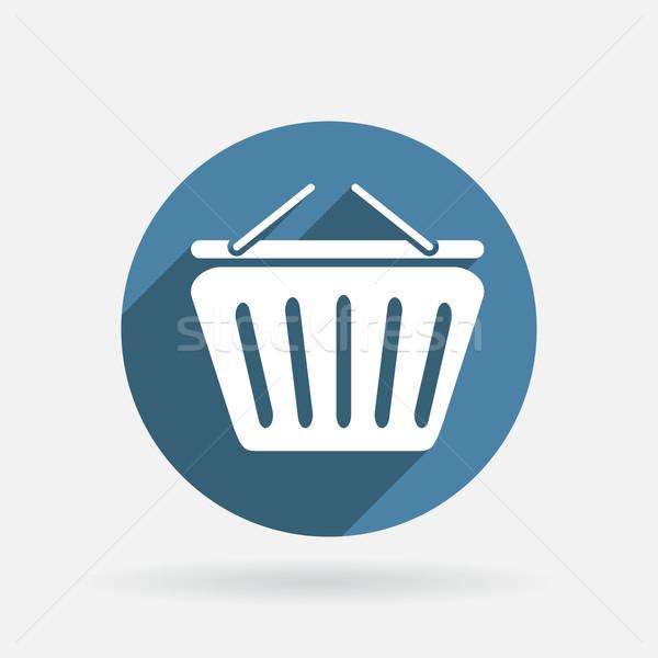 Winkelwagen cirkel Blauw icon schaduw Stockfoto © LittleCuckoo