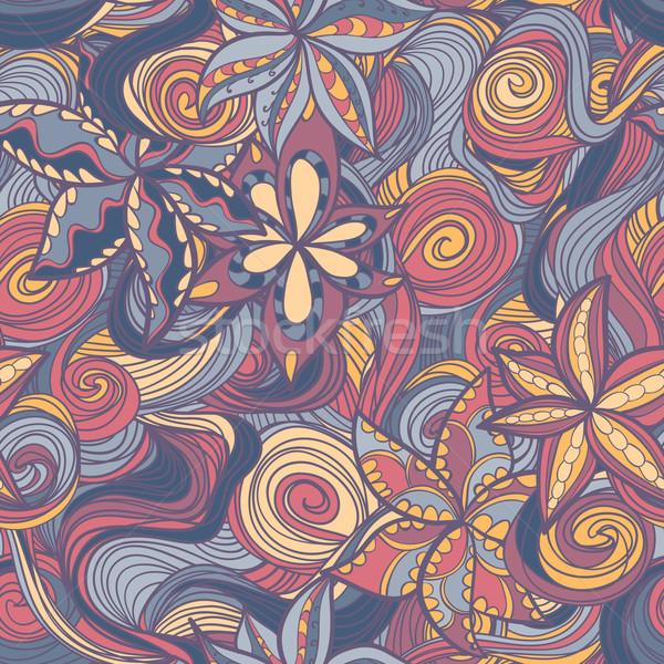 Foto stock: Floral · padrão · colorido · flores · ondas