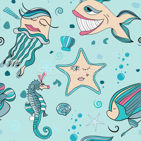 underwater seamless sea world Stock photo © LittleCuckoo