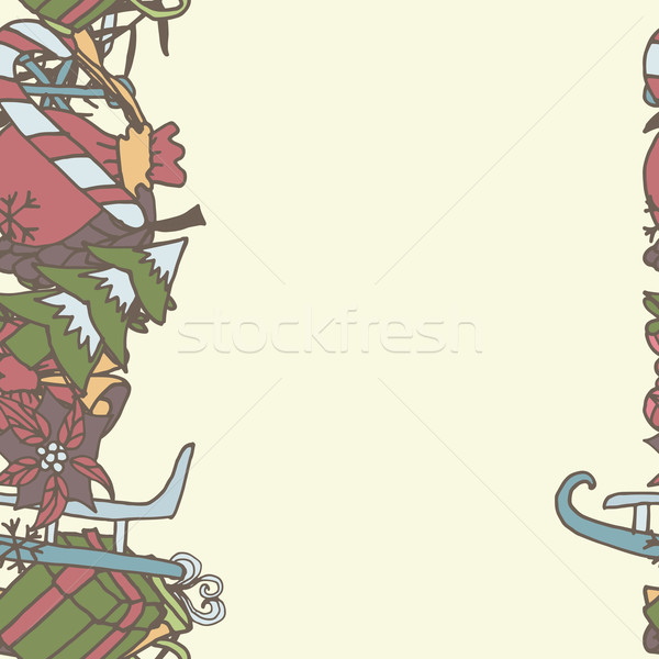 New year seamless border. Endless Christmas template Stock photo © LittleCuckoo
