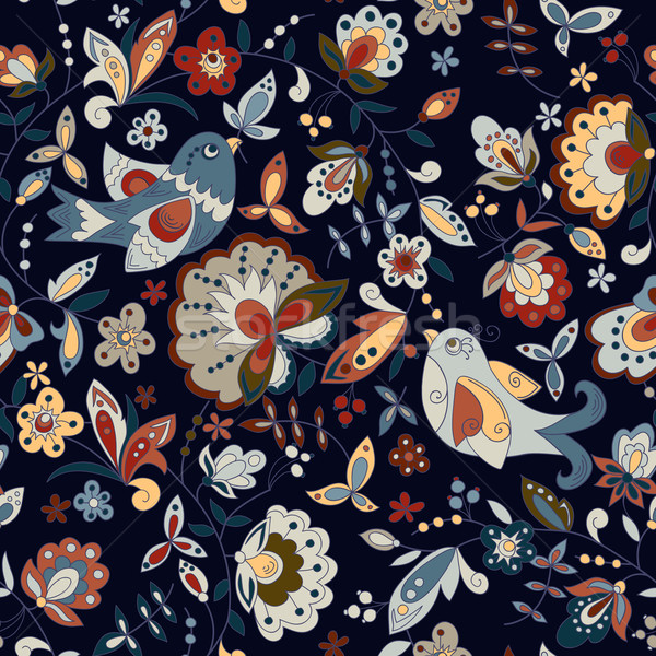 Sin costura textura aves flor flores oscuro Foto stock © LittleCuckoo
