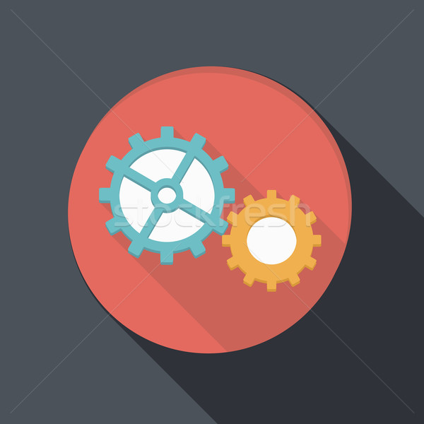 flat icon with a shadow, symbol settings vector illustration