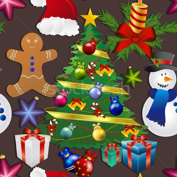 パターン 雪だるま クリスマスツリー おもちゃ ストックフォト © LittleCuckoo