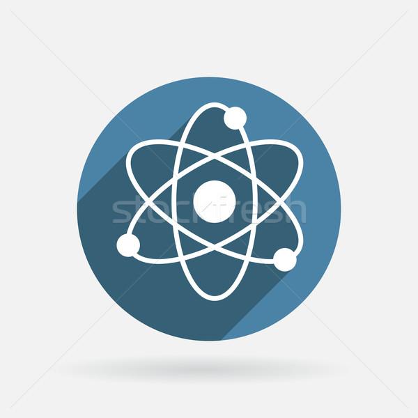 molecule. Circle blue icon with shadow. Stock photo © LittleCuckoo