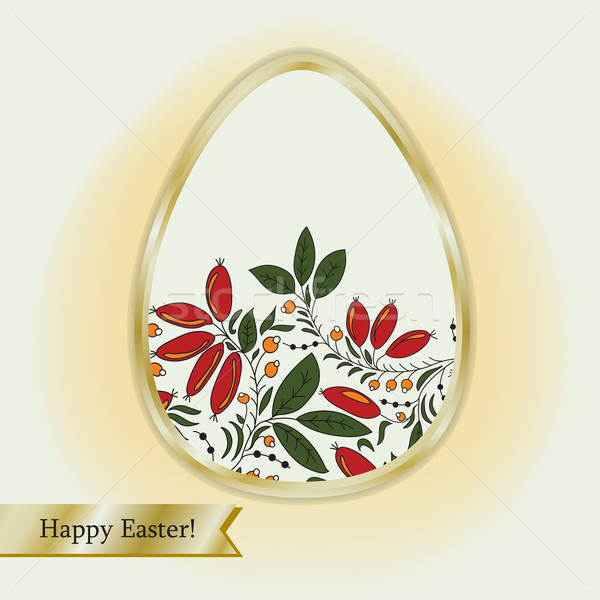 Easter egg with barberry, greeting card Stock photo © LittleCuckoo