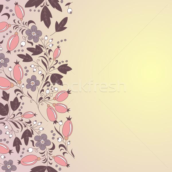 barberry border, hand-drawn berry pattern. Stock photo © LittleCuckoo