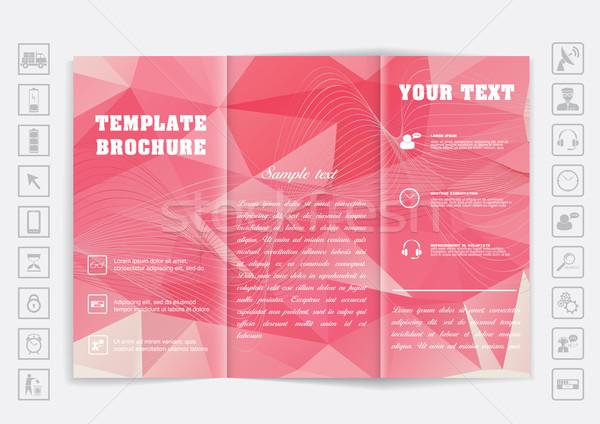 Tri-Fold Brochure mock up vector design. Polygonal background.  Stock photo © LittleCuckoo