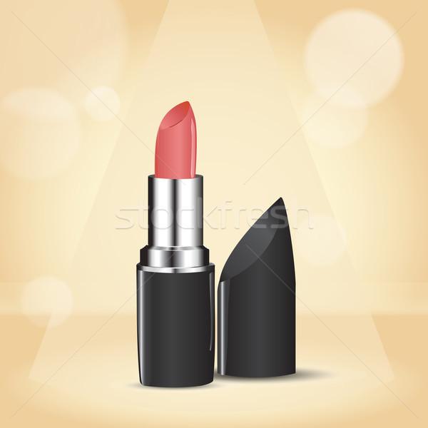 Rose rouge à lèvres argent cas beige bokeh Photo stock © LittleCuckoo