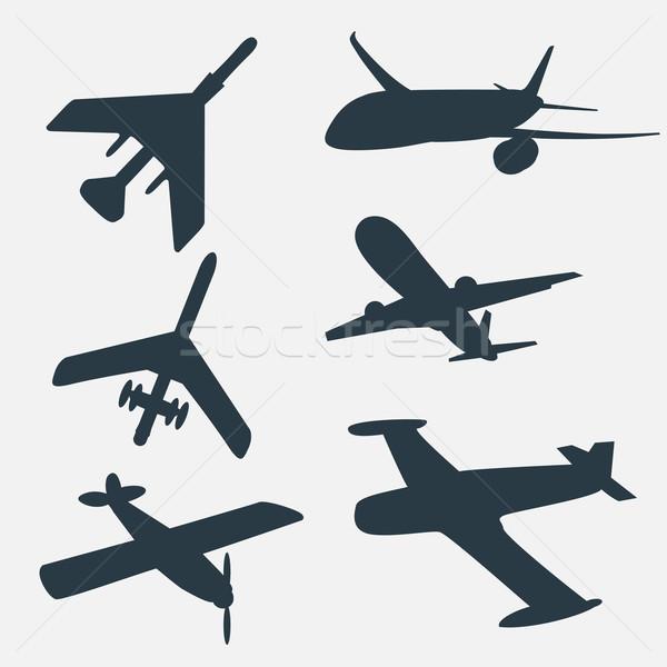 Groupe avions tous différent avion silhouettes Photo stock © LittleCuckoo