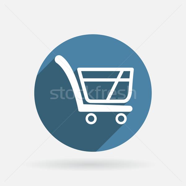 Carrinho loja on-line círculo azul ícone sombra Foto stock © LittleCuckoo