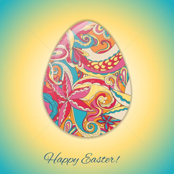 Húsvéti tojás üdvözlőlap absztrakt kézzel rajzolt dísz textúra Stock fotó © LittleCuckoo